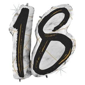 """Шар фольгированный 38"""" «Цифра 18», мрамор, цвет черный"""