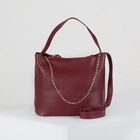 Сумка женская, отдел на кнопке, наружный карман, длинный ремень, цвет бордовый