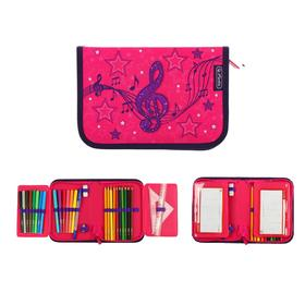 Pencil case 1 section folding 2 levels, 140 x 205, with filling, Herlitz fabric, 31 pieces, Melody Clef