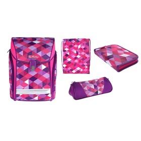 Ранец на замке Herlitz MIDI NEW, 38 х 32 х 26, для девочки, Pink Cubes, пенал с наполнением 16 предметов + пенал-косметичка + мешок