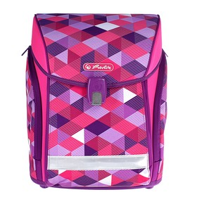 Ранец на замке Herlitz MIDI NEW, 38 х 32 х 26, для девочки, Pink Cubes, сиреневый