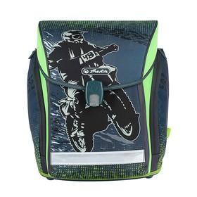 Ранец на замке Herlitz MIDI NEW, 38 х 32 х 26, для мальчика, Motorcross, серый