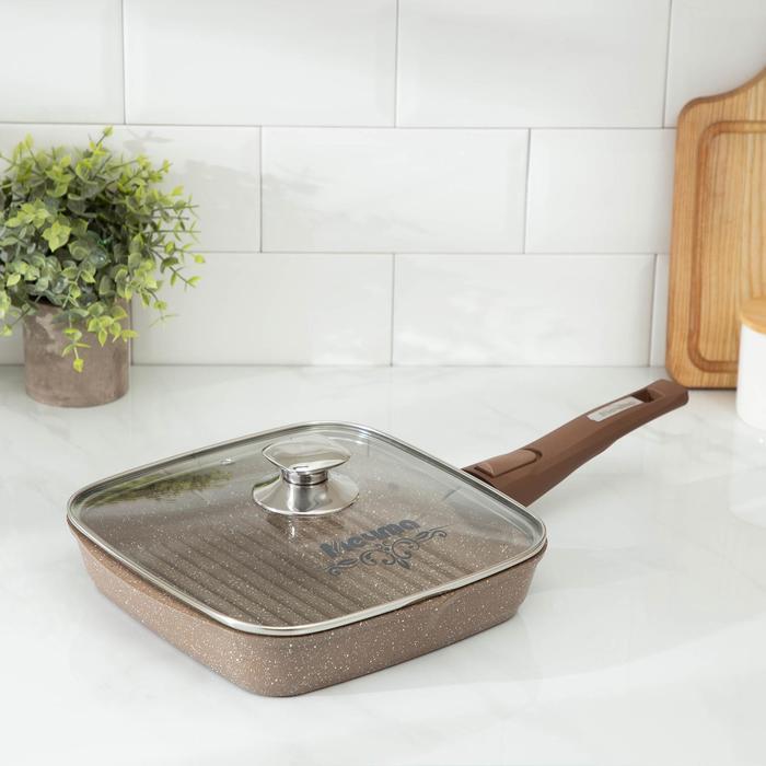 Сковорода-гриль «Гранит», 24×24 см, съёмная ручка, стеклянная крышка
