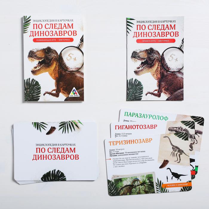 Развивающая игра-викторина «Энциклопедия в карточках. По следам динозавров», 20 карт, формат А5