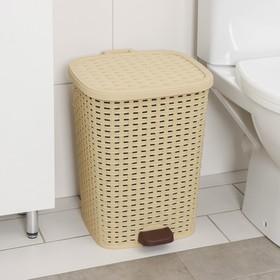 Ведро для мусора с педалью «Плетёное», 26 л, цвет МИКС