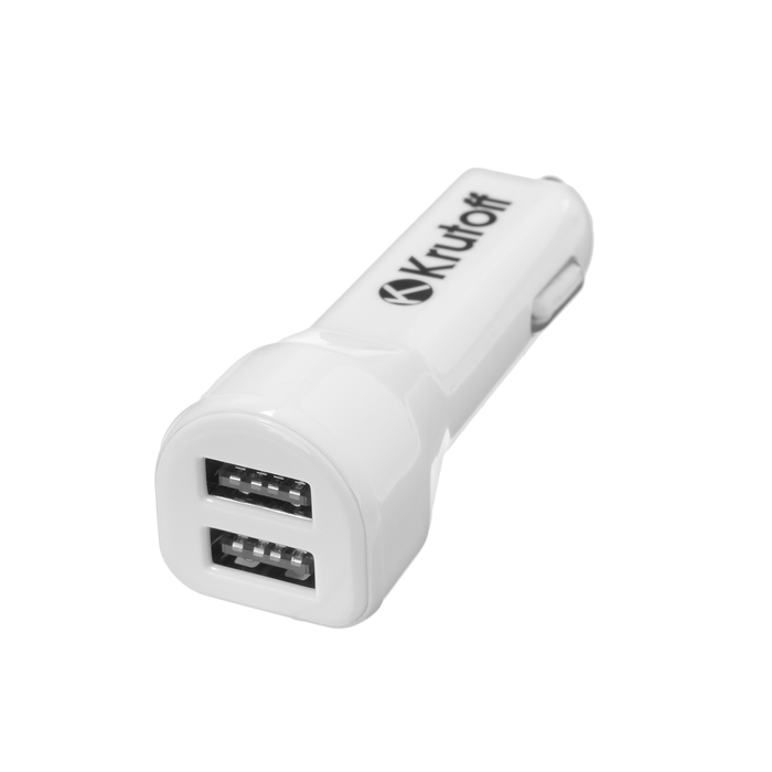 Автомобильное зарядное устройство Krutoff CCH-01, 2 USB, 2.1 A, белое