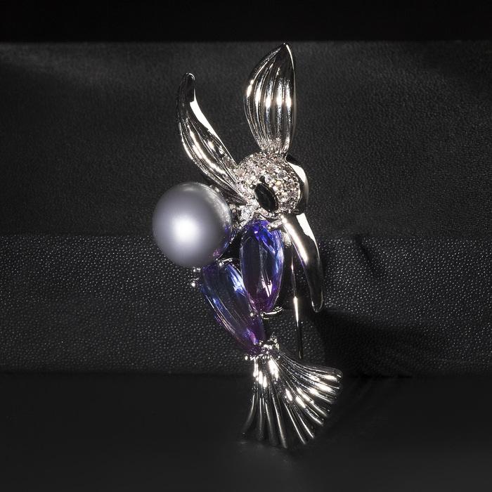 """Брошь посеребрение """"Птичка"""" колибри с бусиной, цветная в серебре - фото 729020504"""