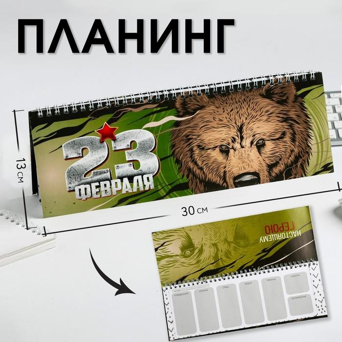 """Планинг прямоугольный тонкий картон """"23 февраля медведь"""" - фото 724437121"""