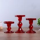 """Подсвечник стекло """"Креманка"""" красный набор 3 шт h- 8,5, 11,4, 14х8,5х8,5 см"""