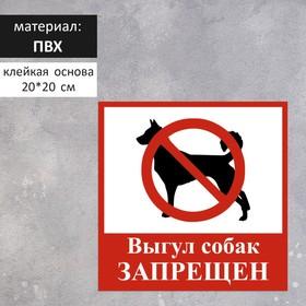 "Табличка ""ВЫГУЛ СОБАК ЗАПРЕЩЕН"" 200х200мм, ПВХ"