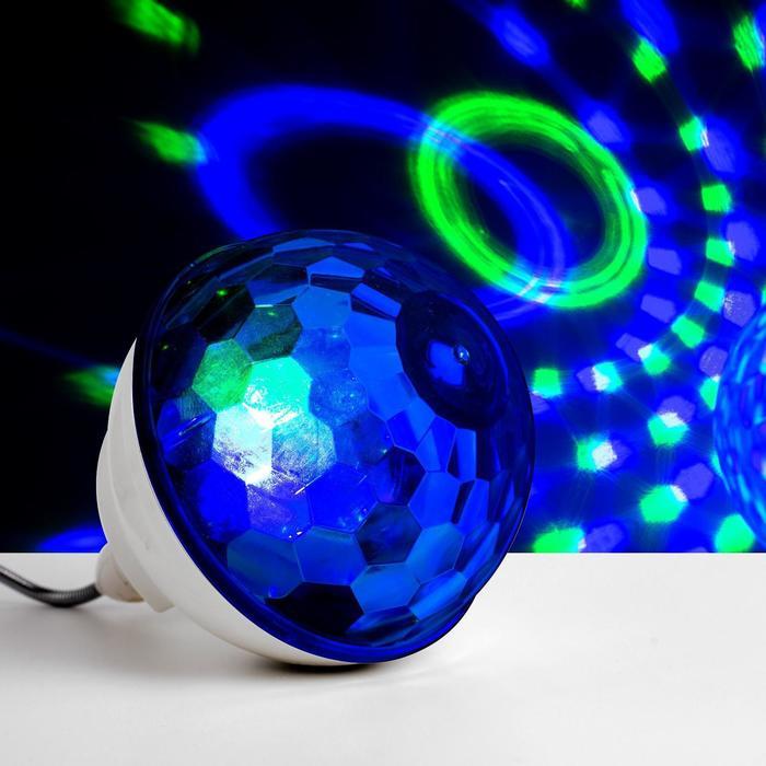 """Световой прибор """"Хрустальный шар"""", Е27, LED-6-220V, 2 динамика, Bluetooth, БЕЛЫЙ - фото 728328212"""