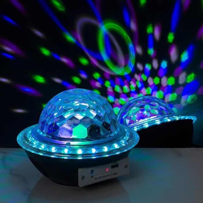 """Световой прибор """"Хрустальный шар"""", LED-30-220V, 2 динамика, Bluetooth, ЧЕРНЫЙ"""