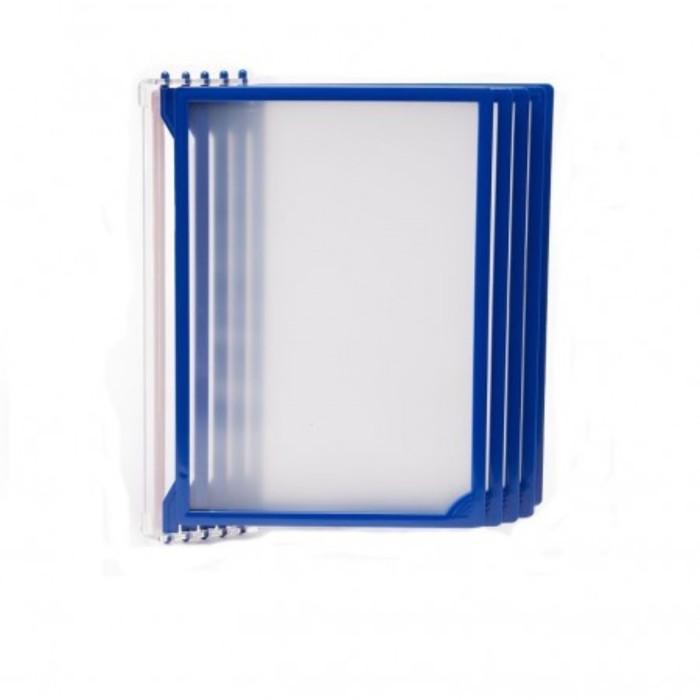 Настенная перекидная система, 5 рамок А4, цвет синий