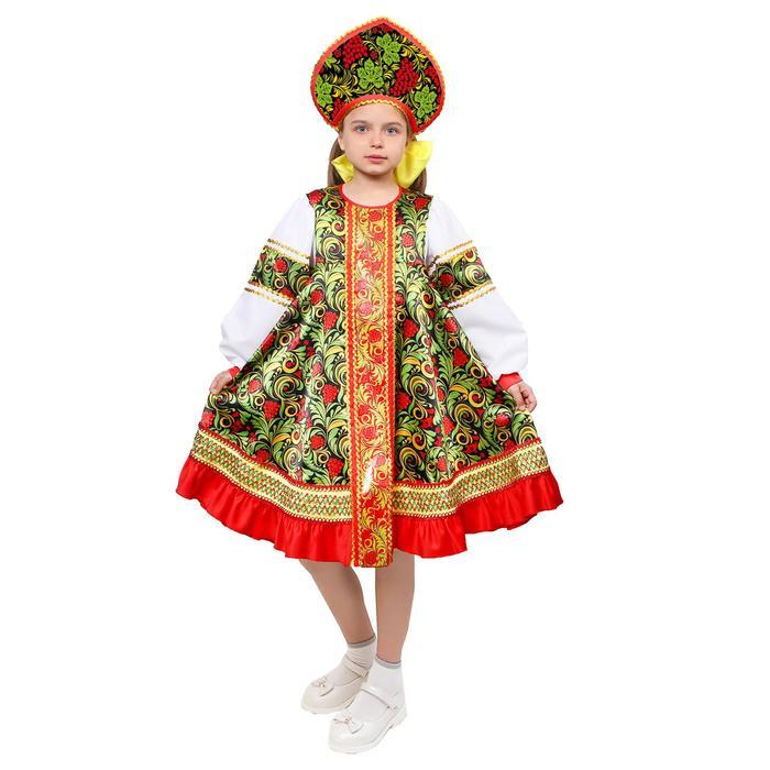 Русский народный костюм для девочки «Рябинка», платье, кокошник, р. 28, рост 98-104 см - фото 726369285
