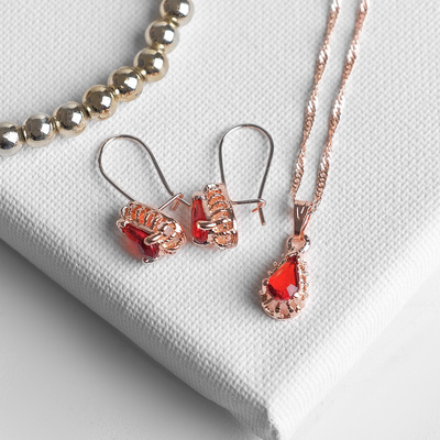 """Headsets 2 items: earrings, pendant """"Edel"""" drop perfect, color red gold"""