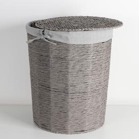 Корзина универсальная плетёная с крышкой «Классик», 43×43×53 см, цвет серый - фото 4636761