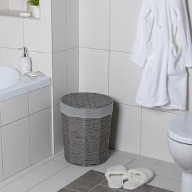 Корзина универсальная плетёная с крышкой «Классик», 43×43×53 см, цвет серый - фото 4636764