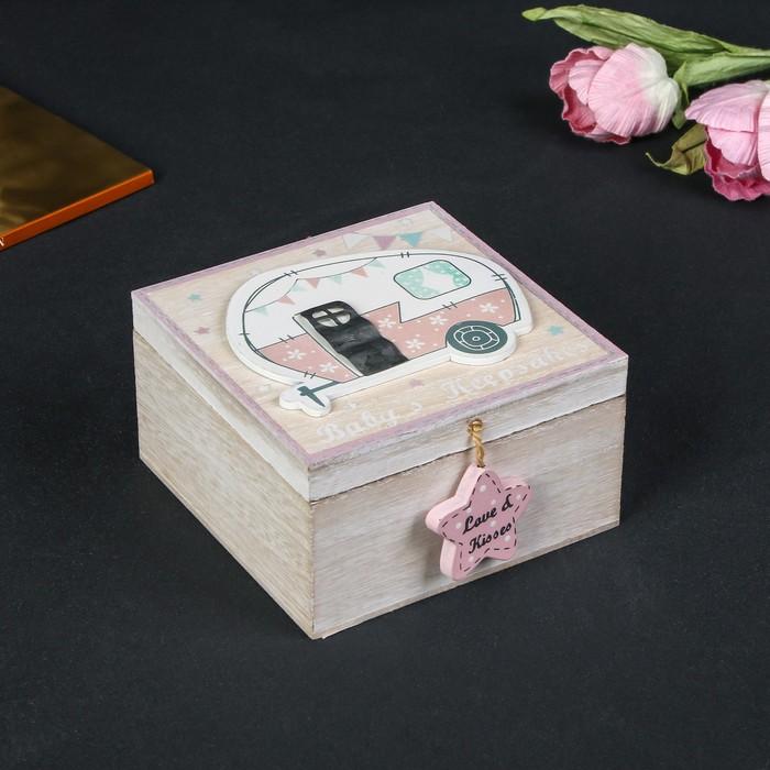 """Шкатулка дерево """"Прицеп"""" розовая 6,5х12х12 см - фото 724985150"""