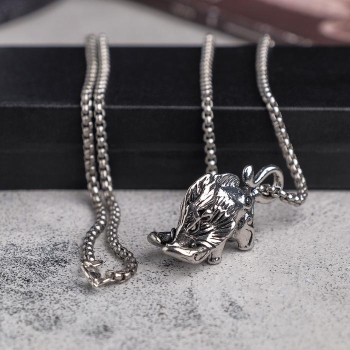 "Мужской кулон, ""Викинг"" мамонт, чернёное серебро, 60 см"