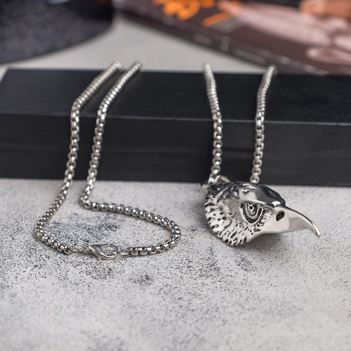"Мужской кулон, ""Викинг"" клюв, чернёное серебро, 60 см - фото 724331058"