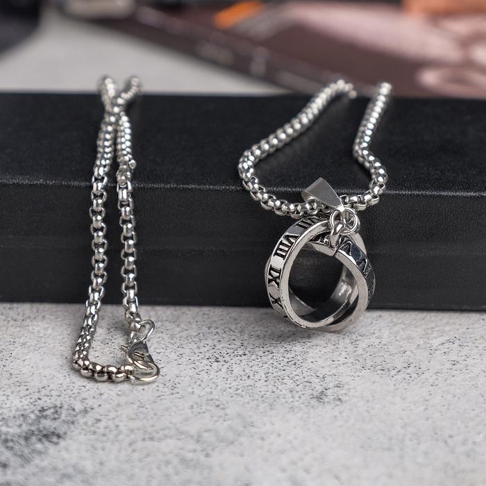 """Мужской кулон, """"Викинг"""" переплетение колец, цвет чернёное серебро, 60 см"""
