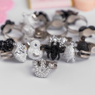 "Ring children's ""Vibracula"" metallic, shape MIX, color silver-black"