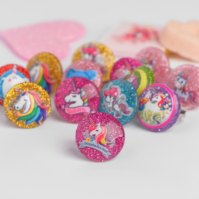 """Ring children's """"Vibracula"""" unicorns are sparkly, the pattern MIX, the color MIX"""