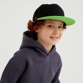 Бейсболка с прямым козырьком для мальчика MINAKU, размер 54, цвет чёрный/зеленый