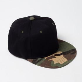 Baseball cap with a straight visor for a boy MINAKU, size 54, black/khaki