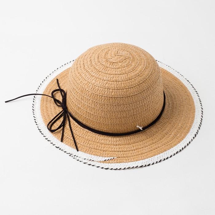"Шляпа для девочки MINAKU ""Куколка"", размер 50,  цвет бежевый - фото 730191430"