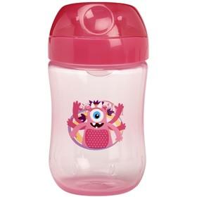 Чашка-непроливайка с мягким носиком, откидывающаяся крышка, 270 мл, от 9 мес., розовый/синий   42361