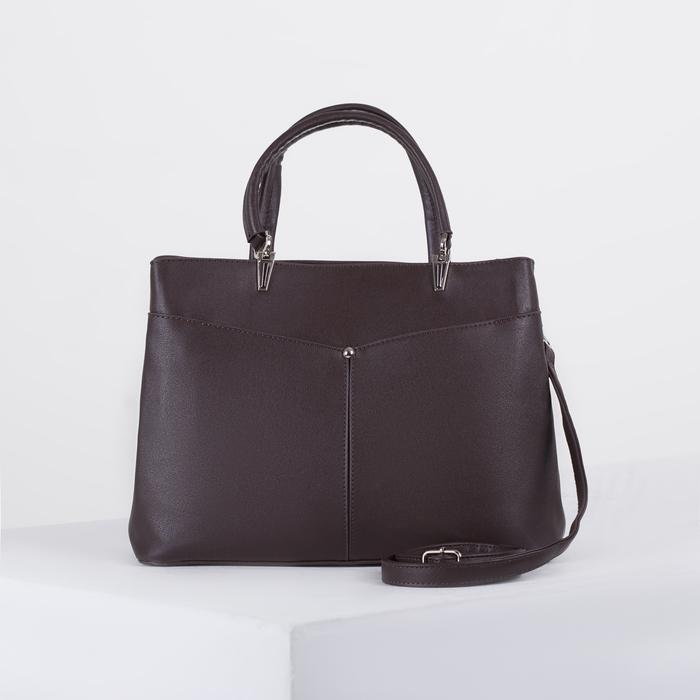 Сумка женская, 2 отдела на молнии, 3 наружных кармана, длинный ремень, цвет коричневый - фото 725410842