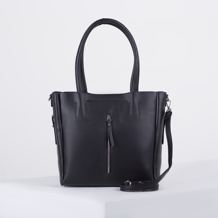 Сумка женская, отдел на молнии, 2 наружных кармана, длинный ремень, цвет чёрный - фото 726985943