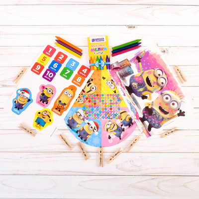 Games on the road Despicable me for girls + sheet rhinestone, 6 PCs pencils, clothespins 12 PCs.