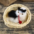 "Fluffy faux fur ""Cat in a basket with a ball"" meow MIX 10х15х13 cm"