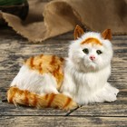 "Fluffy faux fur, ""a White cat with red stripes"" 14х21х12 cm"