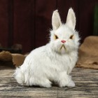 "Fluffy faux fur ""White Bunny"" 19,5х15х8 cm"