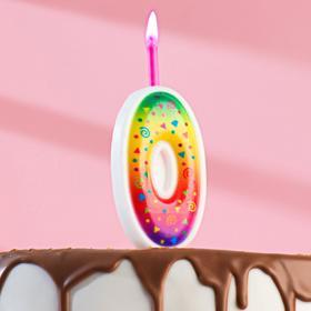"""Свеча для торта цифра """"Цветное пламя"""" """"0"""""""