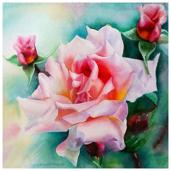 """Алмазная картина """"Нежные розы"""" 30 × 30 см"""