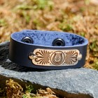 "Wristband ""Pax"", genuine leather, steel"