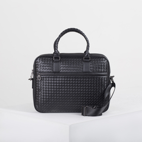Портфель мужской, отдел на молнии, 2 наружных кармана, длинный ремень, цвет чёрный