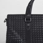 Портфель мужской, отдел на молнии, длинный ремень, цвет чёрный - фото 732995