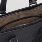 Портфель мужской, отдел на молнии, длинный ремень, цвет чёрный - фото 732996