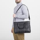 Портфель мужской, отдел на молнии, длинный ремень, цвет чёрный - фото 732997
