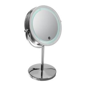 Зеркало LuazON KZ-12, подсветка, настольное, 17 диодов, металл