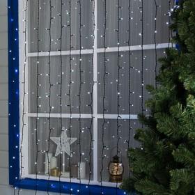 """Гирлянда """"Занавес"""" 2 х 9 м , IP44, УМС, тёмная нить, 1800 LED, свечение белое, мерцание белым, 220 В"""