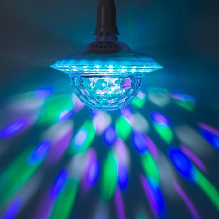 """Световой прибор """"Хрустальный шар"""", Е27, LED-42-220V, 2 динамика, Bluetooth, БЕЛЫЙ"""