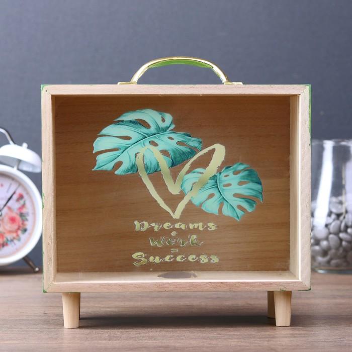 """Копилка интерьерная дерево """"Пальмовые листья"""" зелёная 22х21х7,5 см - фото 726540317"""