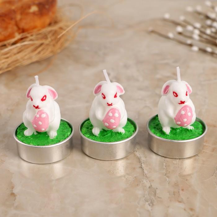 """Набор пасхальных свечей """"Белый кролик"""", 4×6см, 3 шт"""