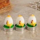 """Набор пасхальных свечей """"Яйцо. Цыплёнок"""", 4×6 см, 3шт"""